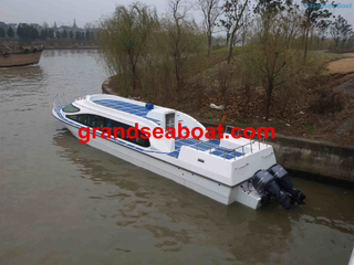 50 Persons Fiberglass Fast Passenger Ferry Boats with Outboard Engines for Sale